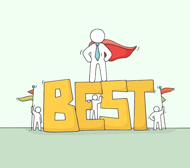 Schizzo di piccole persone che lavorano con la parola grossa best.
