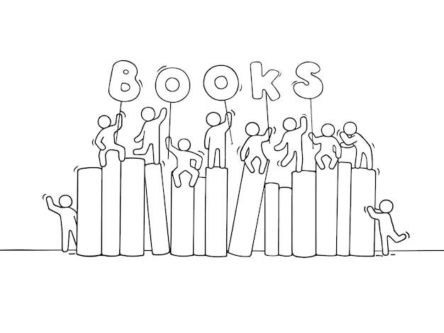 Schizzo di piccole persone che lavorano con i libri. fumetto disegnato a mano per il design aziendale e scolastico.