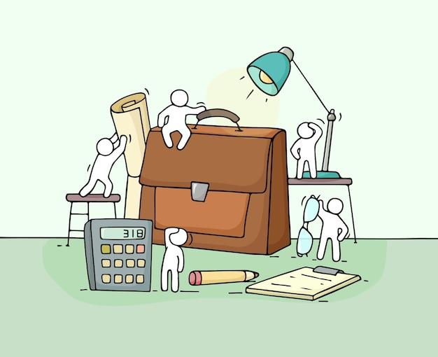 Schizzo di piccole persone che lavorano con custodia doodle simpatica scena in miniatura di lavoratori con cancelleria