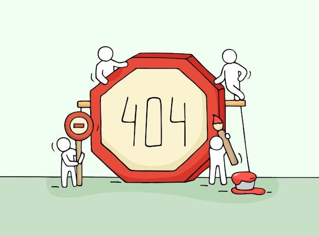 Schizzo di lavorare piccole persone con segno di errore 404. doodle in miniatura scena carina di lavoratori con il simbolo della pagina web.
