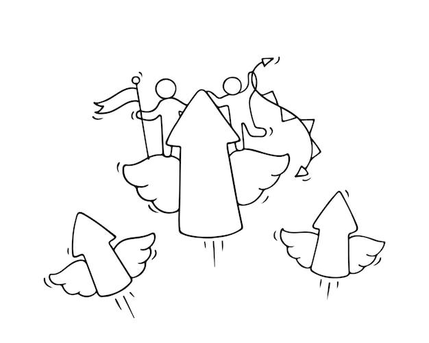 Schizzo di piccole persone che lavorano con frecce volanti. doodle carino scena in miniatura dei lavoratori. fumetto disegnato a mano per progettazione aziendale e infografica.