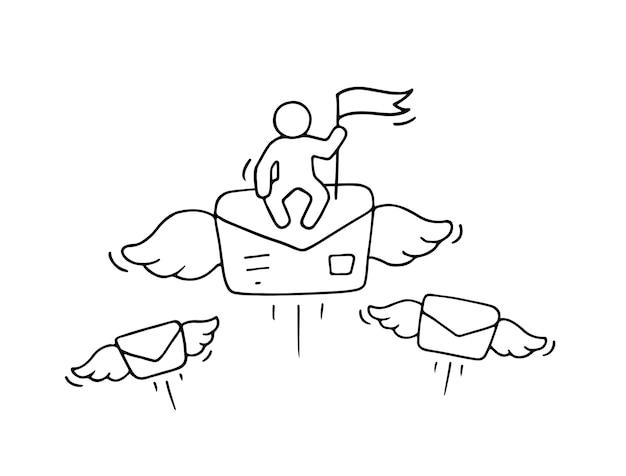 Schizzo di piccole persone che lavorano con lettera volante, scena in miniatura carina sulla posta.