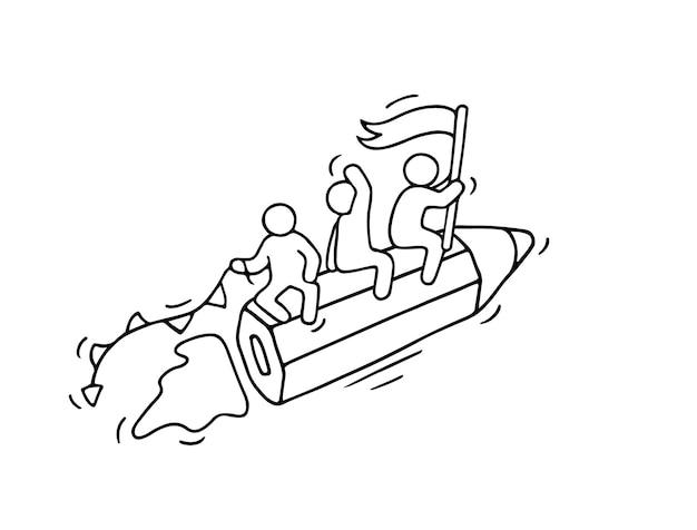 Schizzo di piccole persone che lavorano con matita volante. doodle carino scena in miniatura dei lavoratori. illustrazione del fumetto disegnato a mano