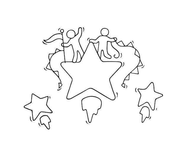 Schizzo di piccole persone che lavorano con stelle volanti. doodle carino scena in miniatura dei lavoratori. illustrazione del fumetto disegnato a mano per progettazione aziendale e infografica.