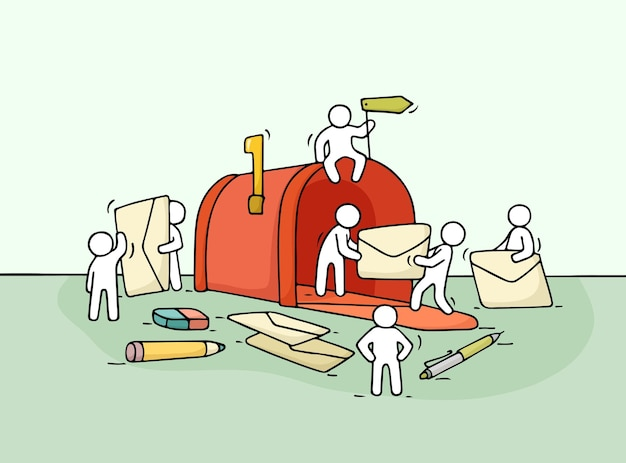 Schizzo di piccole persone che lavorano con la cassetta delle lettere aperta. doodle carino scena in miniatura di lavoratori con lettere.