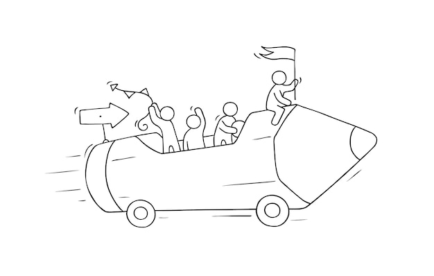 Schizzo di piccole persone che lavorano con la matita su ruote. doodle carino scena in miniatura di lavoratori creativi.