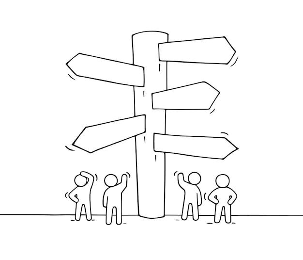Schizzo di lavorare piccole persone con cartello stradale. doodle carino miniatura del cartello. illustrazione del fumetto disegnato a mano per progettazione aziendale e infografica.
