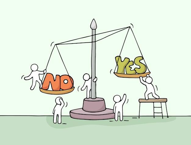 Schizzo di lavorare piccole persone con scala.