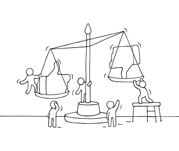 Schizzo di piccole persone che lavorano con scala