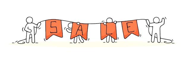 Schizzo di piccole persone che lavorano con vendita di parole. doodle carino scena in miniatura dei lavoratori che si preparano per lo shopping. illustrazione del fumetto disegnato a mano.