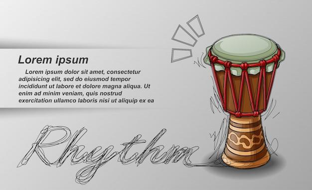 Percussione e testo schizzati su sfondo bianco.