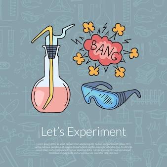 Composizione di elementi di scienza o chimica abbozzato con scritte su sfondo di elementi scientifici