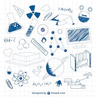 Illustrazione scienza doodle vettoriale
