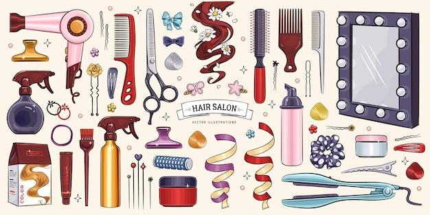 Insieme di oggetti del salone di parrucchiere di schizzi