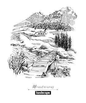 Schizzi di paesaggi montani e paesini di montagna