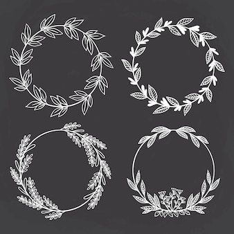 Stile abbozzato di cerchio floreale. meglio per invito a nozze o logo