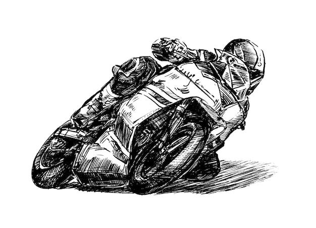 Sketck di disegnare a mano moto da corsa