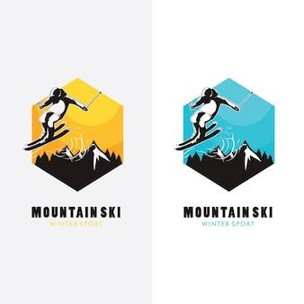 Design del logo di sci, silhouette di sci