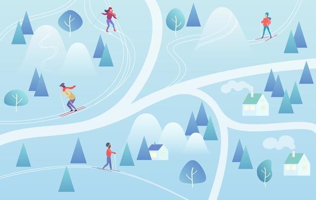 Fondo della stazione sciistica con snowboarder e sciatori