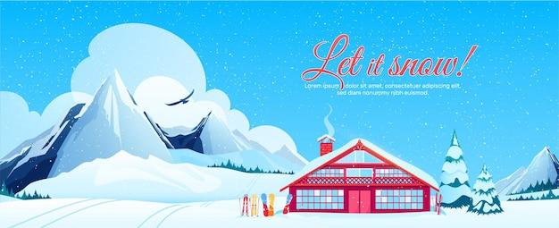Banner di stazione sciistica con paesaggio invernale in stile piatto