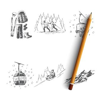 Illustrazione disegnata a mano della stazione sciistica
