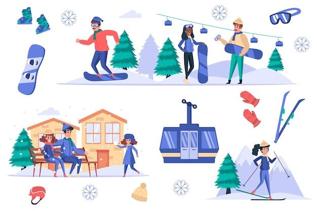 Set di elementi isolati della stazione sciistica gruppo di persone che riposano in montagna in inverno sci snowboard