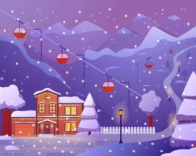 Stazione sciistica con hotel, funivia, neve che cade, inverno in montagna.