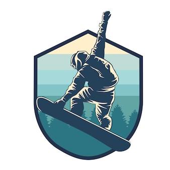Illustrazione grafica di sport di sci