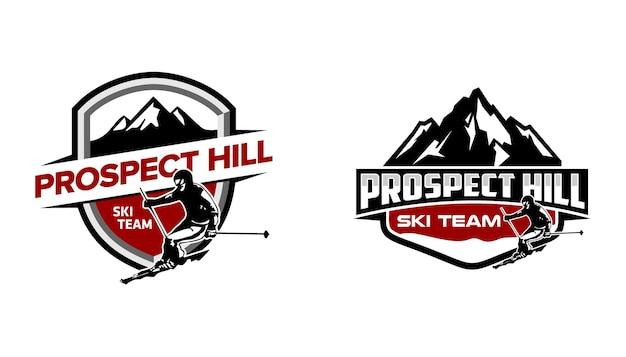 Ski team adventure shield badge emblem logo modello