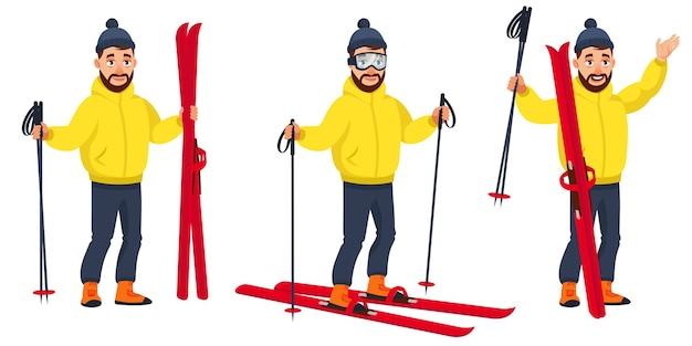 Sciatore in diverse pose. personaggio maschile in stile cartone animato.