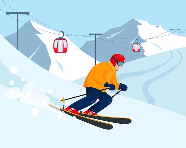 Sciatore tra le montagne di neve stazione sciistica e concetto di sport invernali