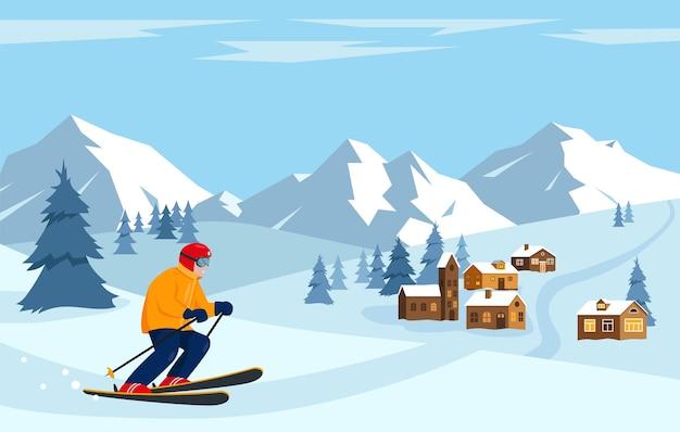 Sciatore nelle montagne di neve. paesaggio invernale con montagne e case nel villaggio.