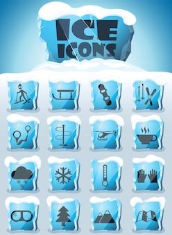 Set di icone per lo sci