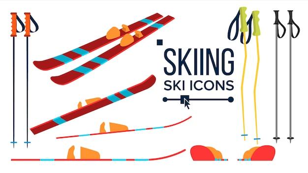Set di icone di sci
