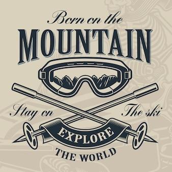Concetto di marchio di sci, illustrazione di occhiali da sci con bastoncini da sci incrociati sullo sfondo chiaro.
