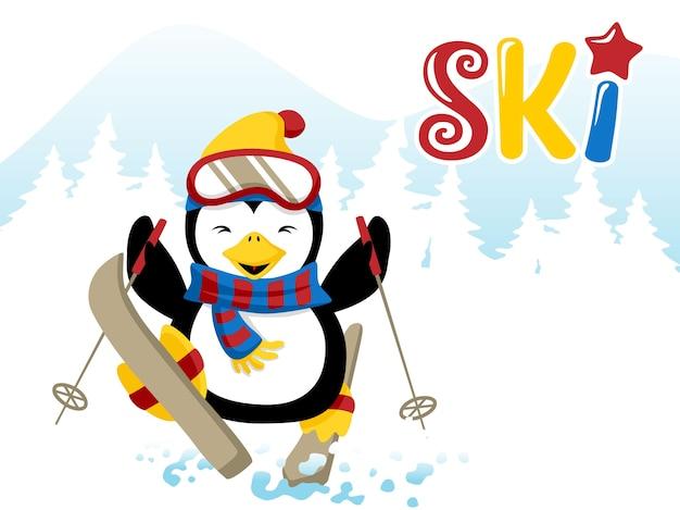 Fumetto del pinguino di sci
