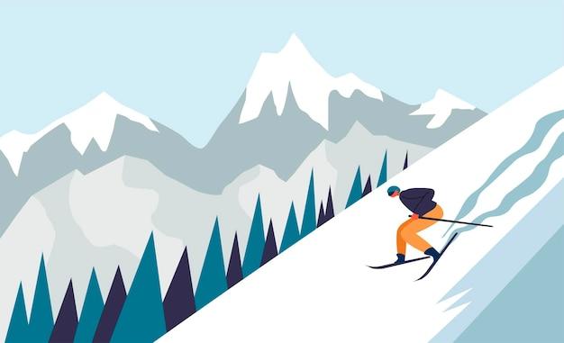Sciare e praticare sport estremi nella stagione invernale. personaggio in discesa. paesaggio della catena montuosa con pineta ricoperta di neve. scena e vette gelide. vettore in stile piatto