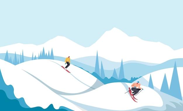 Sci e snowboard persone che vanno in discesa, sport estremi al resort in inverno. catena montuosa con cime e foreste di pini. paesaggio invernale panoramico con mucchi innevati. vettore in stile piatto