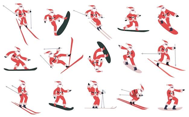 Sci snowboard scorrevole mascotte di babbo natale sport invernali set di vettore di personaggi di babbo natale