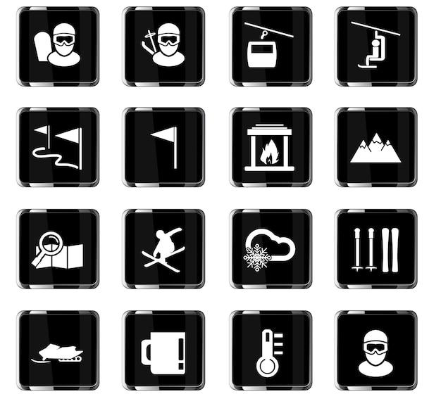 Icone vettoriali per lo sci per il design dell'interfaccia utente
