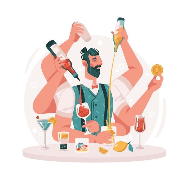 Abile barista prepara cocktail barman virtuosi