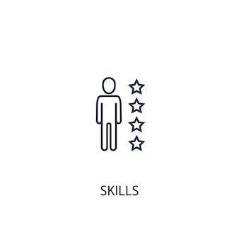 Icona della linea del concetto di competenze. illustrazione semplice dell'elemento. disegno di simbolo di contorno del concetto di abilità. può essere utilizzato per ui/ux mobile e web