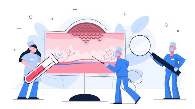 Segni di cancro della pelle. dottore in piedi davanti al grande schermo della pelle. idea di salute e cure mediche. il dottore controlla un derma. malattie della pelle. idea di assistenza sanitaria. illustrazione