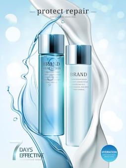 Annunci per la cura della pelle, lozioni e prodotti in crema in un pacchetto azzurro con schizzi di liquido e crema