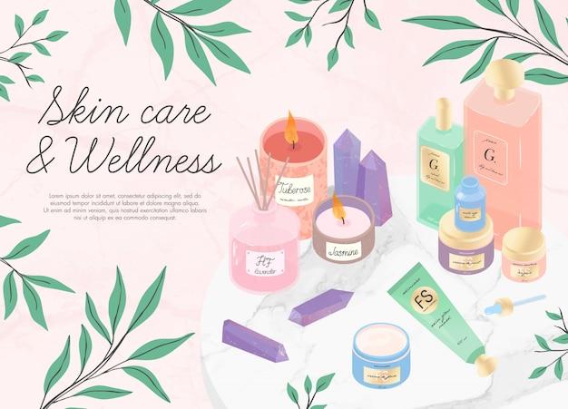 Concetto di cura della pelle, aromaterapia, spa e benessere