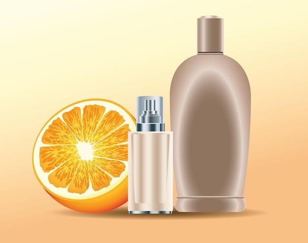 Bottiglie per la cura della pelle prodotti dorati con illustrazione di frutta arancione