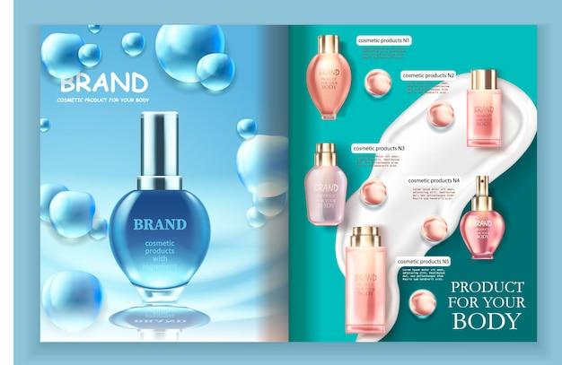 Modello di brochure per la cura della pelle.