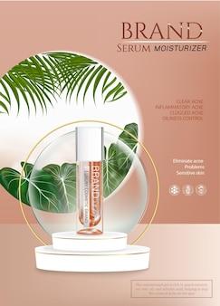 Cosmetico per la cura della pelle del prodotto premium del fondotinta sul podio. trucco colorstay in bottiglia di vetro e tubo su sfondo arancione oro