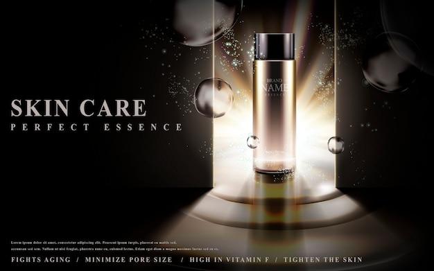 Essenza per la cura della pelle contenuta in una bottiglia di vetro illuminata su sfondo scuro