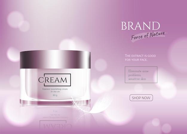 Essenza per la cura della pelle contenuta con piuma bianca, illustrazione 3d di sfondo rosa